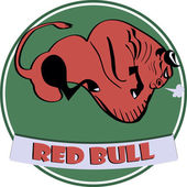 Red bull icon — Stock Vector