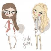 Cute girls. — Stock Vector
