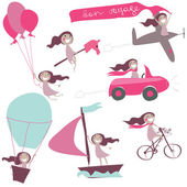 Funny girl in different transports — Stock Vector