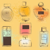 The set of different perfumes. — Stock Vector