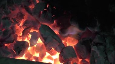 Fire flames raising in a dark background — Stock Video