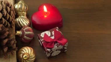 Christmas decorations and ornament on wooden background — Stock Video