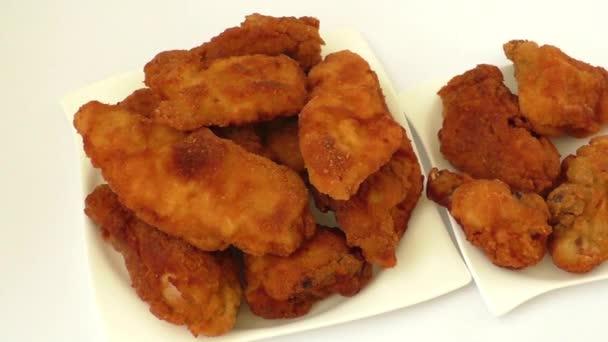 Homemade fried chicken schnitzel — Stock Footage #94044366