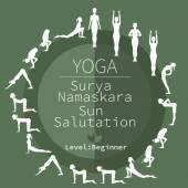 Yoga poses, Surya Namaskara — Cтоковый вектор