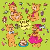 Teddy bears and a set of accessories — Stock Vector