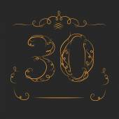 Anniversary 30th signs collection in classic style. Template of anniversary, birthday and jubilee emblems  with number editable and copy space on the ribbons. — Stock Vector