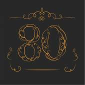 Anniversary 80th signs — Vector de stock