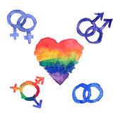 Conjunto de ícones de lgbt diversas identidades sexuais — Vetor de Stock
