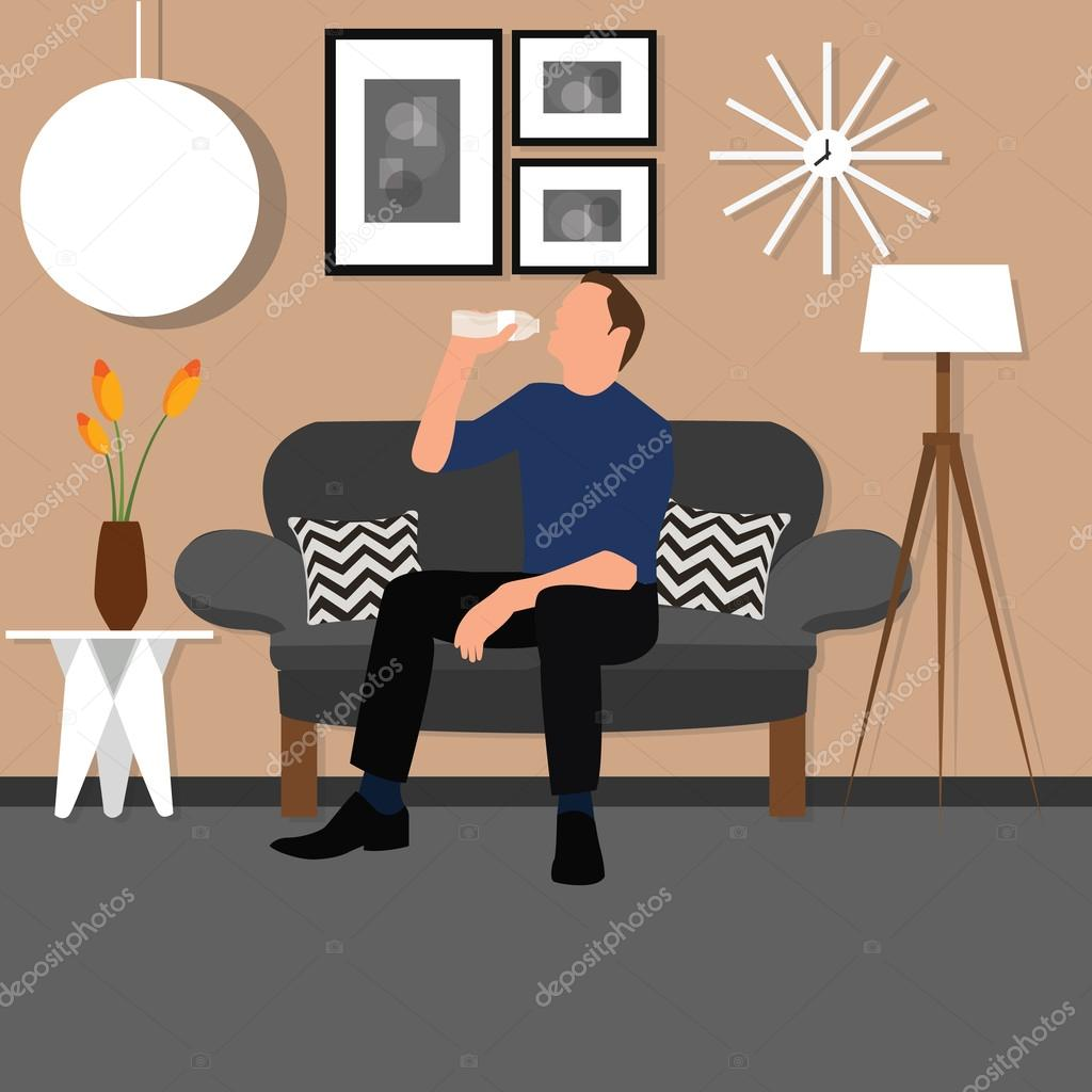 Living Room Sitting Chairs Man People Drinking Water From Bottle Sitting Chair Sofa Living