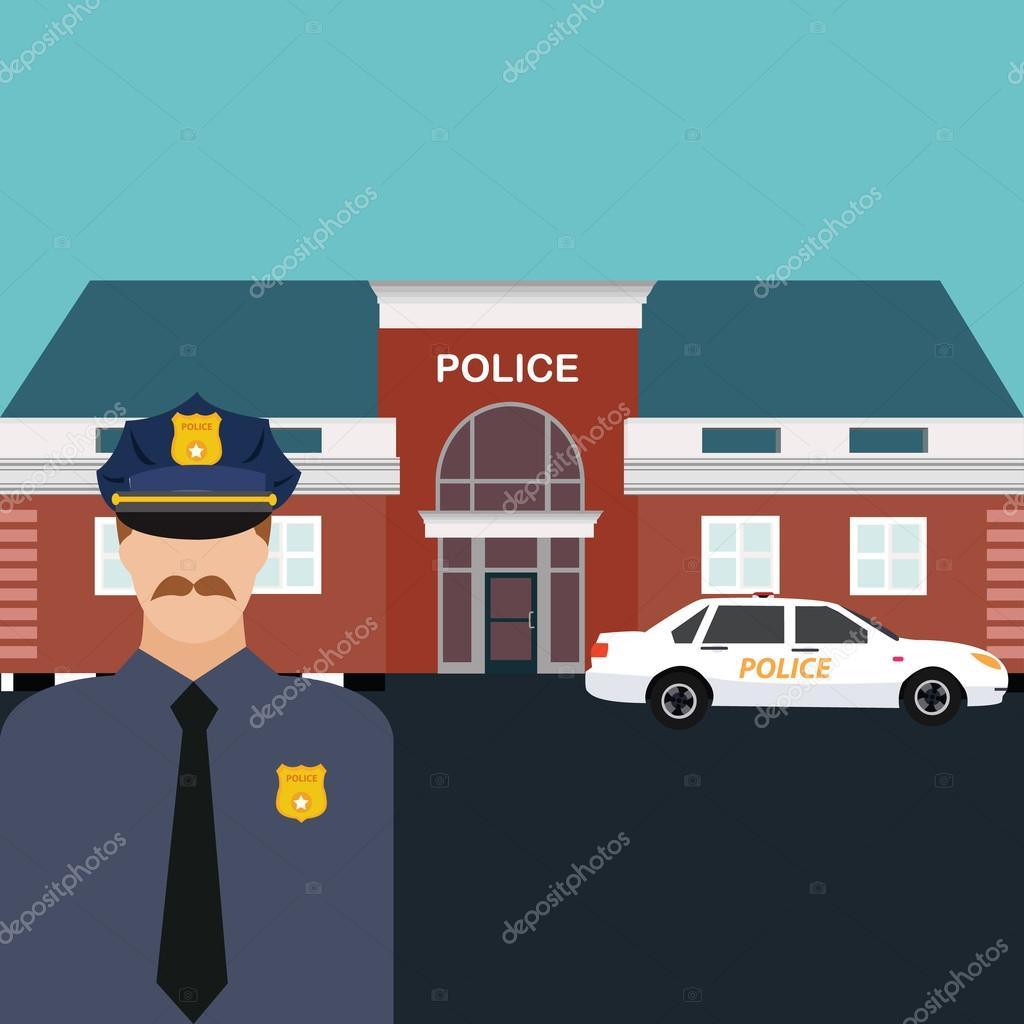Oficial de la estaci n de polic a de pie delante de la for Oficina de policia