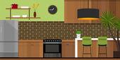 Kitchen interior furniture house — Stock Vector