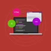 Web development programming html php css js — Stock Vector
