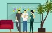 Scrum metodyki agile software stojący spotkanie — Wektor stockowy