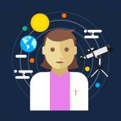 Astronomer space science women vector illustration — Vettoriale Stock