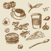 Food cafe illustration cofe tea pizza hamburger — Stock Photo