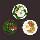 Indonesian malaysian food nasi goreng lemak sate — Stock Vector
