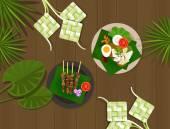 Ketupat lebaran idul fitri ied food indonesia — Stock Vector