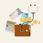 Financial money management checkup planning — Stock Vector