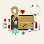 Childhood cancer children medical gold ribbon treatment health disease — Stock Vector