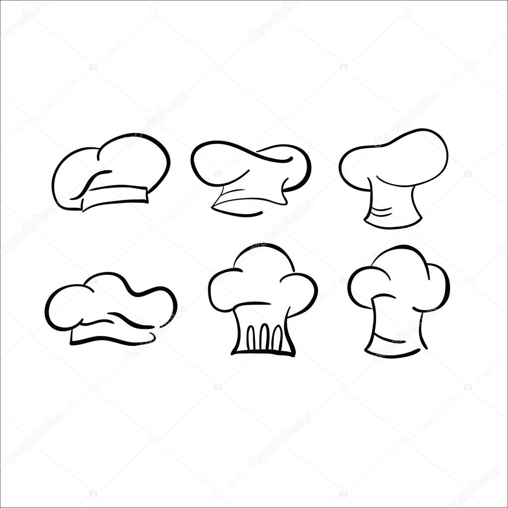 chef hat sketch vector drawing cap white � stock vector