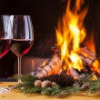 Drinks at cozy fireplace — Stock Photo #67072239