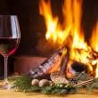 Drink at cozy fireplace — Stock Photo #67072241