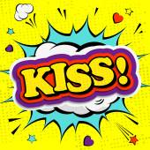 Creative colorful poster with the lettering kiss. Pop-art style — Stock Vector