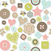 Seamless pattern of colorful differently shaped buttons — Stock Vector