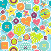 Seamless pattern of colorful differently shaped buttons — Vecteur