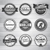 Summer holidays, travel, vacation adventure labels template set — Vector de stock
