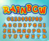 Rainbow alphabet and numbers — Stock Vector