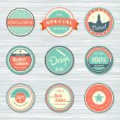 Vintage labels set: exclusive, travel and best seller, discount — Stockvector