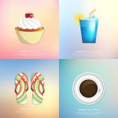 Cake, cocktail, beach Slippers, coffee. Summer icons — Stock Vector