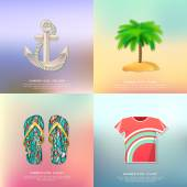 Anchor and rope, palm tree, slippers, t-shirt. Summer icons — Stock Vector