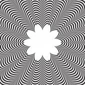 Abstract vector black and white striped background. Optical illusion — Stockvector