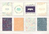 花模様や装飾品でヴィンテージのカードのセット — ストックベクタ