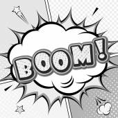 Boom. Vector comic book, speech bubble, explosion. Pop Art — Vector de stock