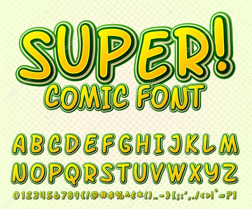 Fonte em quadrinhos criativo elevado detalhe alfabeto no estilo de