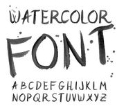 Vector black watercolor font, handwritten letters. ABC — Cтоковый вектор