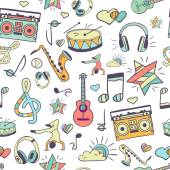 Vector seamless musical pattern, hand drawn doodles — Stock Vector