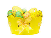 Easter eggs in the pot and spring lantern. — Stock Photo