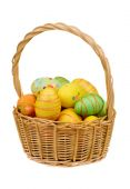 Easter basket with eggs isolated. — Stock Photo