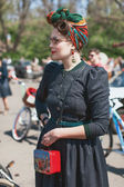 Woman participating in bicycle Retro cruise — Stock Photo
