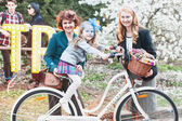 Girl participating in bicycle Retro cruise — Stok fotoğraf