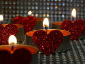 Hearted candles — Stock Photo
