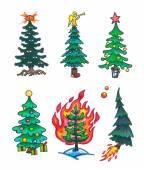 Fantasy christmas trees — Stock Photo