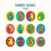 Kreskówka noworodek zwierząt — Wektor stockowy