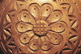 Carved wood flower — Stock Photo