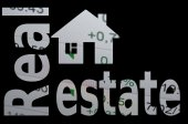Home icon and inscription Real Estate. — Stock Photo