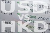 Usd sign abd hkd sign on PC screen. — Stock Photo